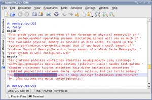 Kate langas su failu, turinčiu html formato žymių
